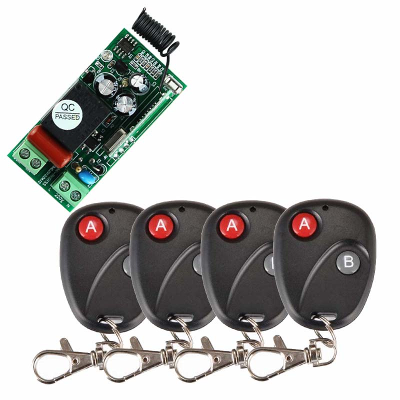 AC 220 V 1CH RF Wireless Remote Control Switch System Receiver Transmitter 2 Buttons 4PCS Controller 433.92mhz ac 220v 1ch rf relay wireless remote control switch system remote receiver 4pcs a b buttons remote controller 315mhz 433mhz