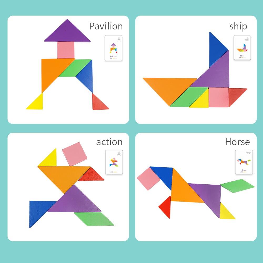 65 pièces cartes + 2 pièces Tangram En Bois Montessori Puzzle Écriture Planche à Dessin Bébé Enfants Apprenant En Développement jouets Éducatifs - 4