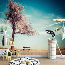 Beautiful autumn branches blue sky scenery living room background wall cloth custom 3d wallpaper mural