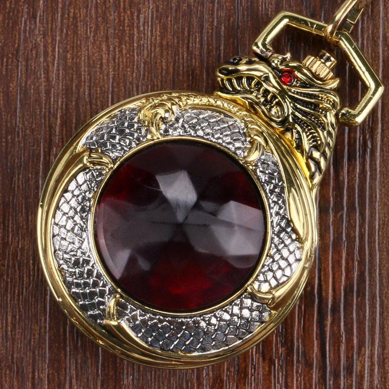 Lommeur FOB Watch Vedhæng Quartz Ur Juvel Evil Dragon Luksus Guld - Lommeur - Foto 1