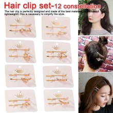New Twelve Constellation Beautiful Hairpins Metal Crystal Hair Clips for Women Fashion Rhinestone accessories
