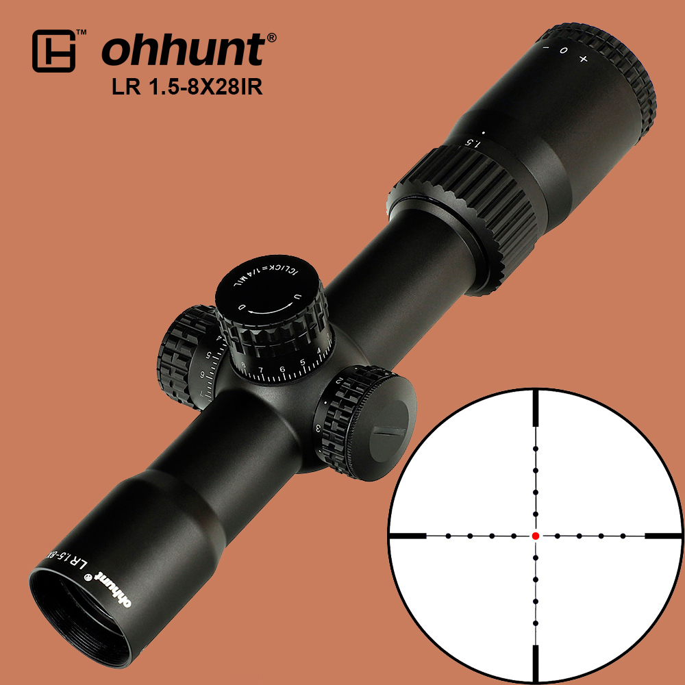 ohhunt Hunting LR 1.5-8X28 IR Compact Scope Mil Dot Red Illumination Optical Sights Glass Etched Reticle Tactical Riflescope