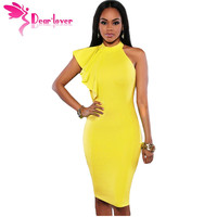 Dear Lover Summer Dresses Mujer 2017 Yellow White Black Solid One Shoulder Ruffle Sleeve Midi Dress