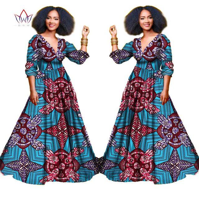 2017 african dresses for women autumn three quarter sleeve dashiki