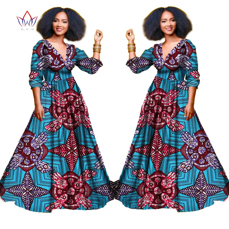 2018 african dresses for women autumn three quarter sleeve dashiki african print clothing plus size christmas dress 5xl wy939