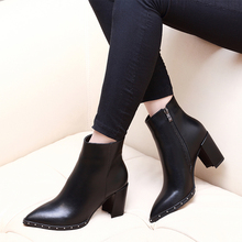 Купить с кэшбэком New Genuine Leather Party Sexy Woman Shoes Large Size Ankle Boots Heel 6cm Pointed Toe High Heel Riding Boots CH-B0104