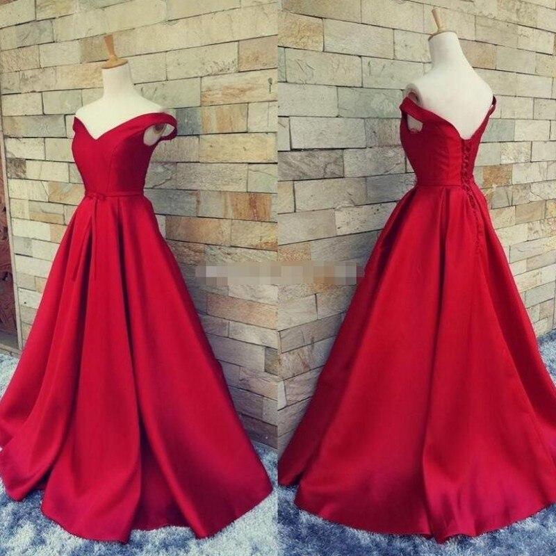 Real Image Long   Evening     Dresses   Red Robe De Soiree Formal   Dress   2018 Cheap Custom Made Prom Gowns Pleat Vestido De Festa Longo
