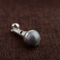 BESTLYBUY 925 Silver Pendant Vintage Microphone Shape 100% Pure S925 Solid Thai Silver Pendants for Women Men Jewelry Making