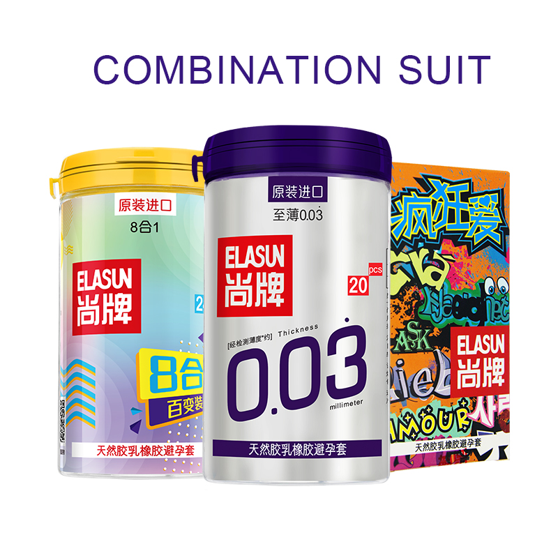 Brand ELASUN 50 Pcs/Lot 3 Style More Than 10 type Super Thin Natural Latex Condoms Safer Contraception Adult Sex Toys For Men.