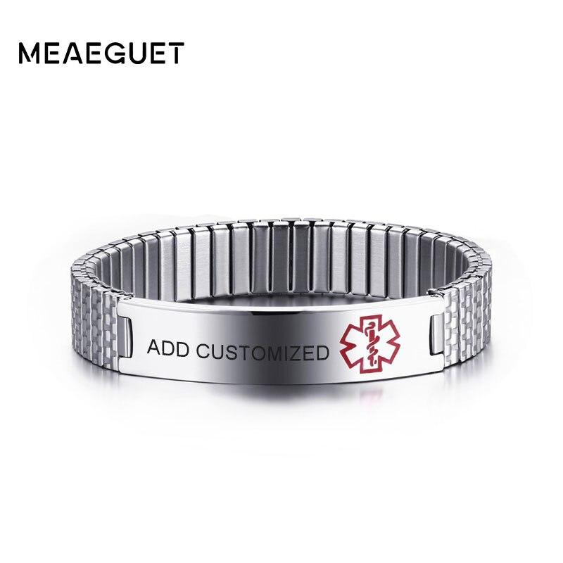Meaeguet personalizado gravado elástico diabetes médica alerta id pulseira para homem mulher de aço inoxidável informações pessoais pulseira