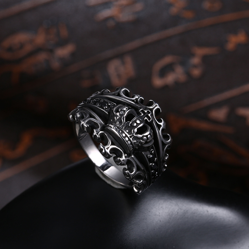 GOMAYA Mens Crown Rings Black Royal King Crown Knight Fleur De Lis Cross Vintage Rings for Men Jewelry in Rings from Jewelry Accessories