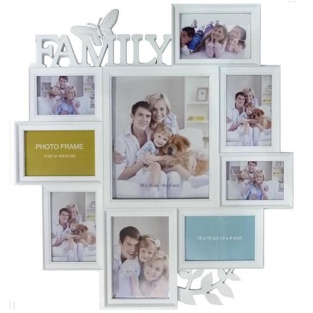 LARGE WHITE BUTTERFLY LEAF WALL HANGING FAMILY PHOTO FRAME MULTI ...