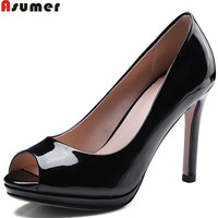 ASUMER red peep toe shallow elegant super high shoes woman spring autumn shoes thin heels women high heels shoes size 34 43