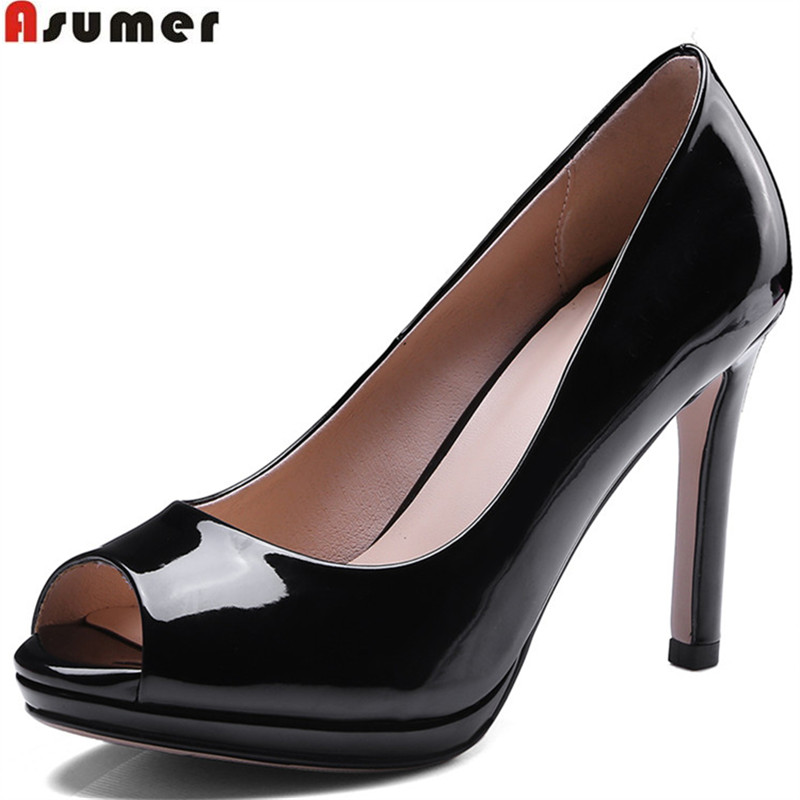 ASUMER red peep toe shallow elegant super high shoes woman spring autumn shoes thin heels women high heels shoes size 34-43