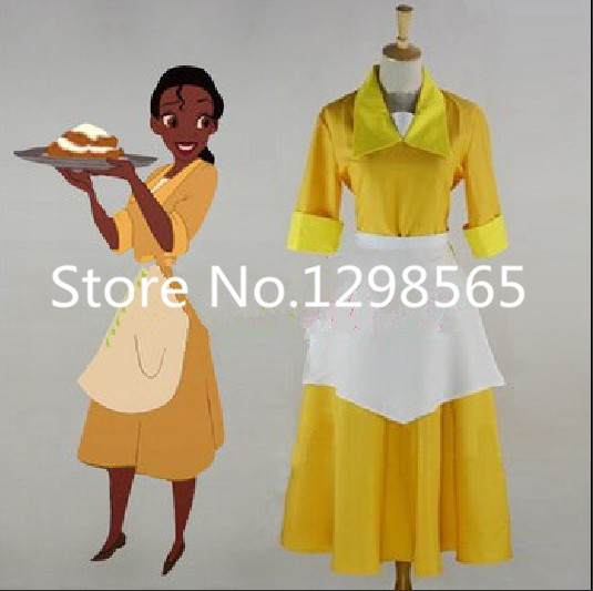 The Princess and the Frog Tiana Yellow Waitress Uniform Cosplay Costume Fancy Dress Custom Made