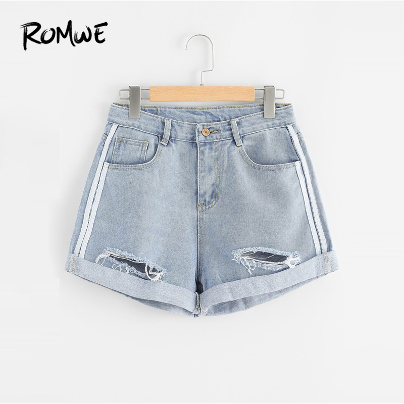 ROMWE Rips Denim   Shorts   Korean Style Blue Women Loose Pockets Button Fly Fashion   Shorts   2019 Basic Mid Waist Summer   Shorts