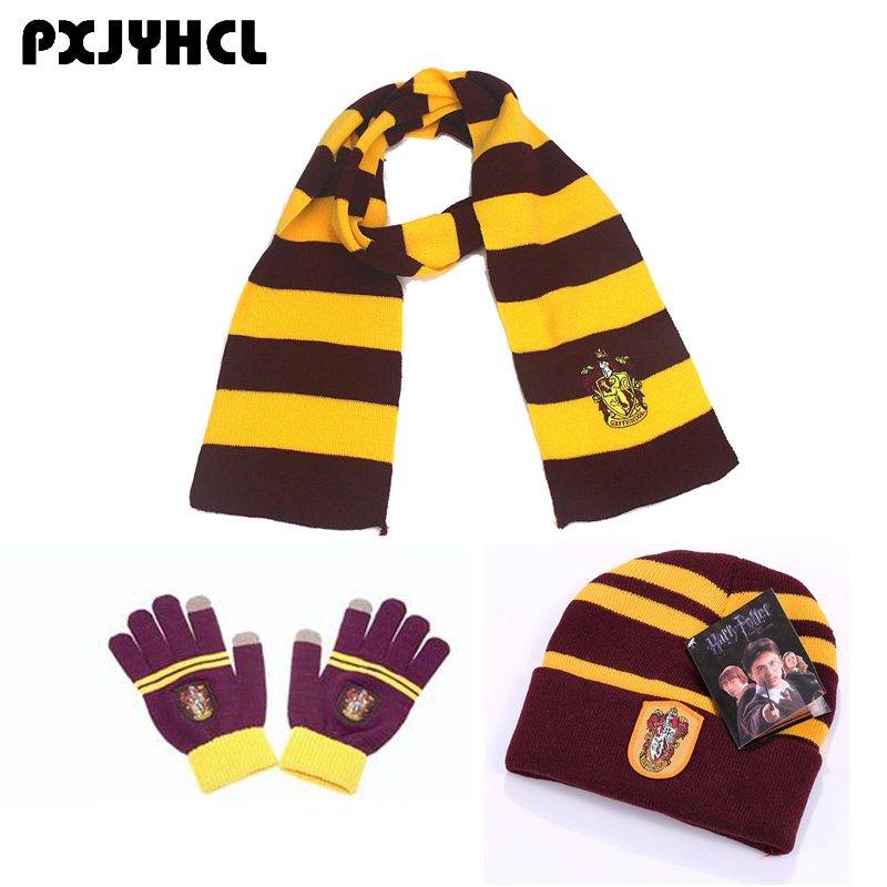 Adult Kid Gryffindor Slytherin Hufflepuff Ravenclaw Cosplay Scarf Hat Touch Glove Tie Scarf Soft Warm Neckerchief Christmas Gift