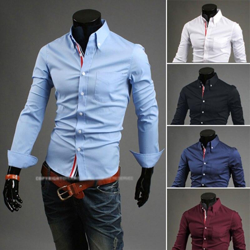 2017 Neue Ankunft Mens Dress Shirts Luxusmarke Mode Langarm Stpried Slim Fit Camiseta Masculina Größe M-3xl Attraktives Aussehen