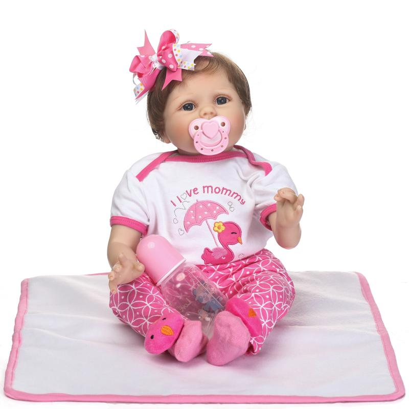 New 55cm Lifelike Newborn Baby Girl Doll Rooted Hair Blue Eyes Reborn Baby Doll Birthday Xmas Gifts Bedtime Early Education Toy new arrival 55cm blue eyes pink clothes lifelike baby soft girl doll with free plush toy as kids xmas gifts birthday doll toys