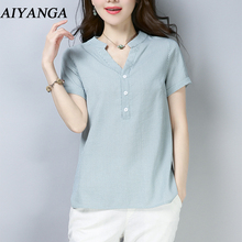 S-4XL Cotton and Linen Blouses Women V Neck Shirts Summer 2018 Short Sleeve Solid Color Pink White Tops Casual Office Ladies