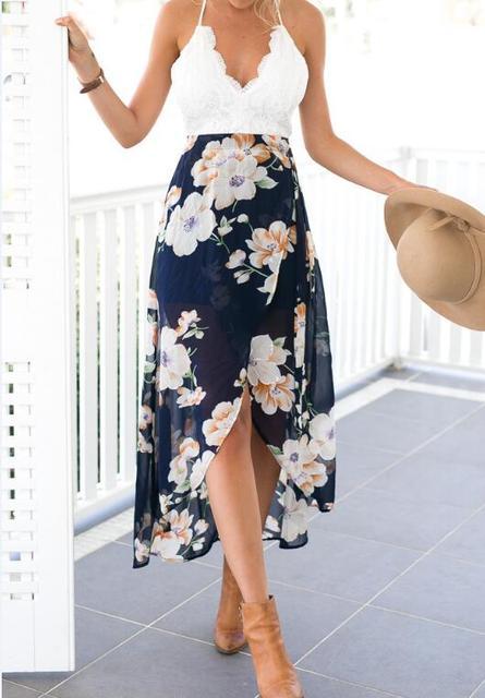 Lace long flower print patchwork dresses