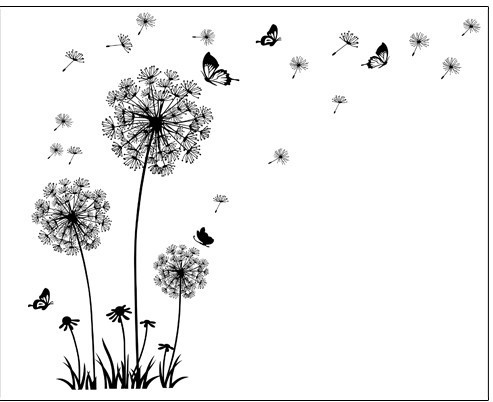 product \Butterfly Flying In Dandelion \bedroom Living room stickers Style Wall Stickers Design PVC Wall Decals 5125