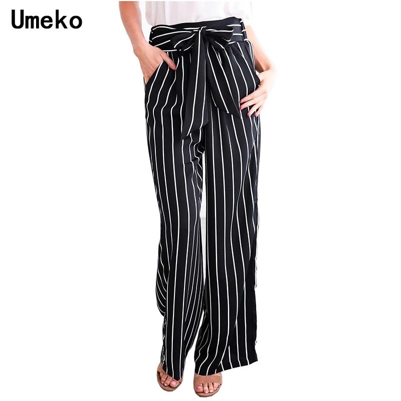 Umeko 3 Colors Casual Women Loose   Wide     Leg     Pants   Ladies Stripe High Waist Bow Female Trousers