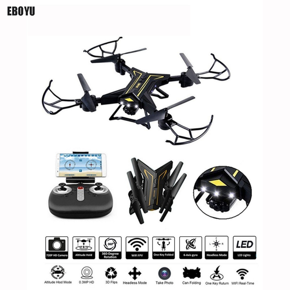 EBOYU KY601 2.4Ghz Foldable Drone RC Selfie Drone w/ Wifi FPV 720P HD Camera Altitude Hold & Headless Mode RC Quadcopter Drone купить недорого в Москве