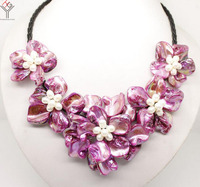 Women Jewelry natural white pearl bright purple 5 flowers pendant shell mother of pearl necklace black leather 18
