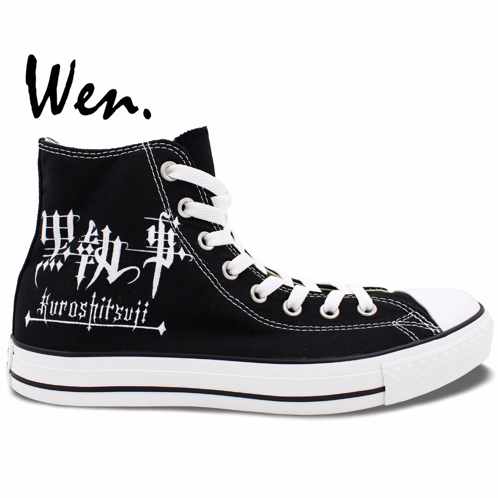 Wen Anime Hand Painted Shoes Black Butler Sebastian Michaelis High Top Men  Women s Canvas Sneakers 27620f108383