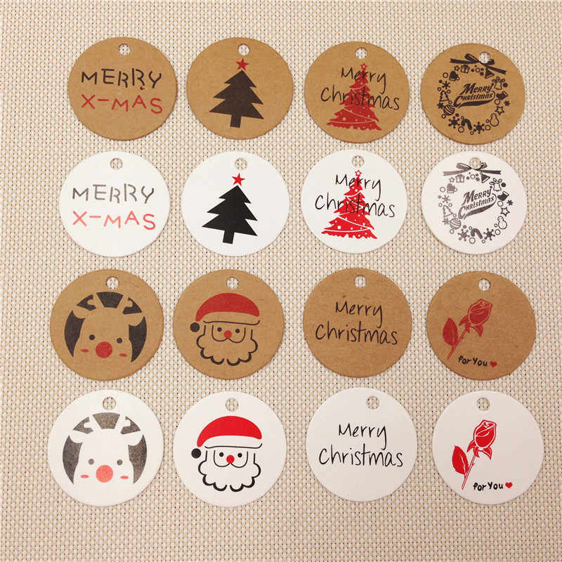 100Pcs/Lot Diameter 3cm Round Hang Tags Various Styles Handmade Festivals Christmas Wedding Labels Note Kraft Listing Paper Tag