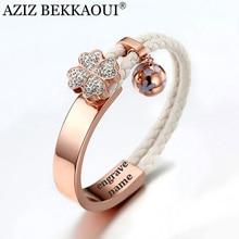 AZIZ BEKKAOUI Rose Gold Bangles For Women 3D Crystal Flower Charms Bracelet Engraved Name Lover Bracelet Braided Rope Chain