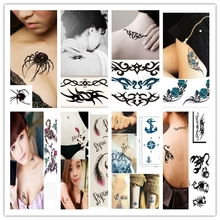 Temporary Tattoos Black White Letter Adhesive 3d Butterfly Lotus Flower Body Art Beauty Design 1 Pc Trendy
