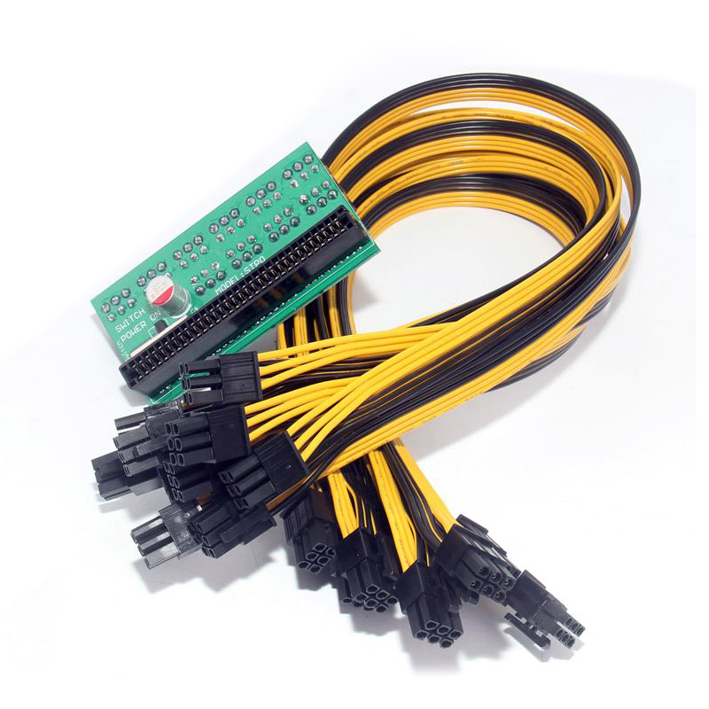 DPS-1200FB/QB A Power Supply Breakout Board +6 pin 10 Cable  for Ethereum Mining QJY99