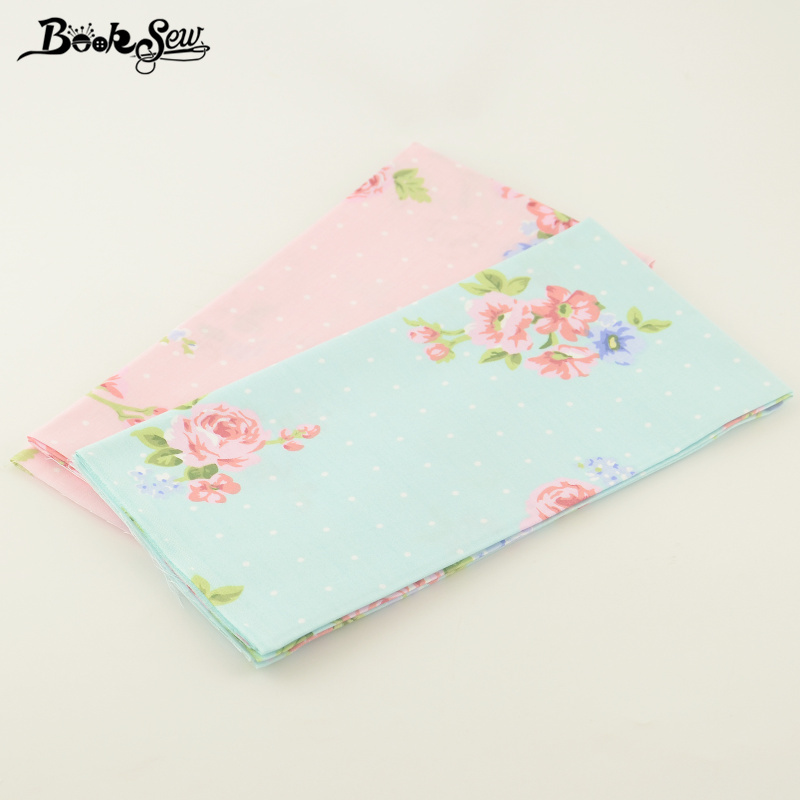 50cmx100cm 100% Cotton Quilting Twill Printed Flowers Designs 2 Pcs/lot Booksew Fabric Decoration Quliting Home Textile Tecido