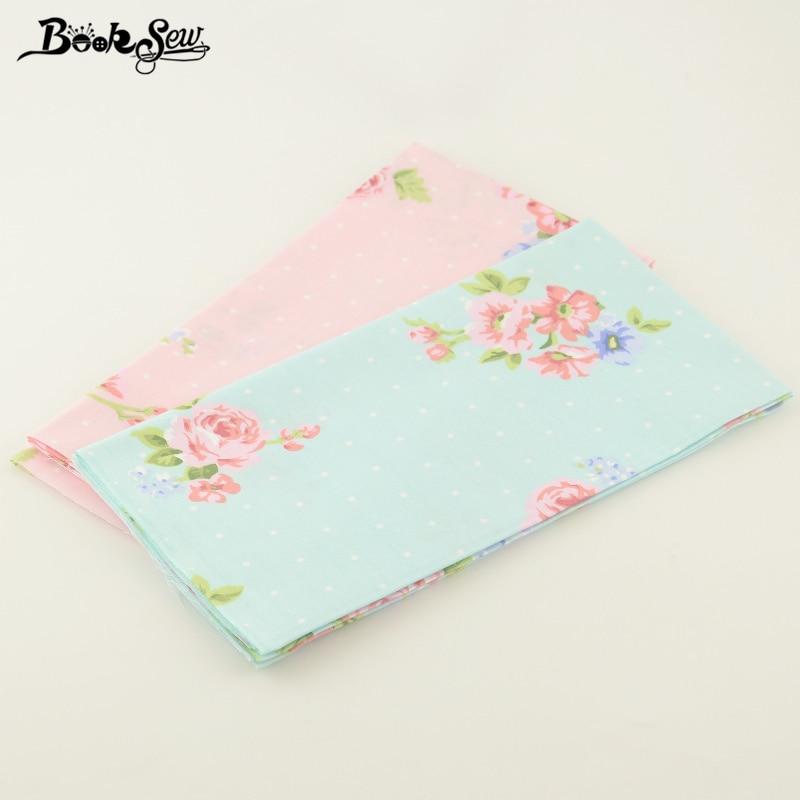 50cmx100cm 100% Cotton Quilting Twill Printed Flowers Designs 2 Pcs/lot Booksew Fabric Decoration Quliting Home Textile Tecido