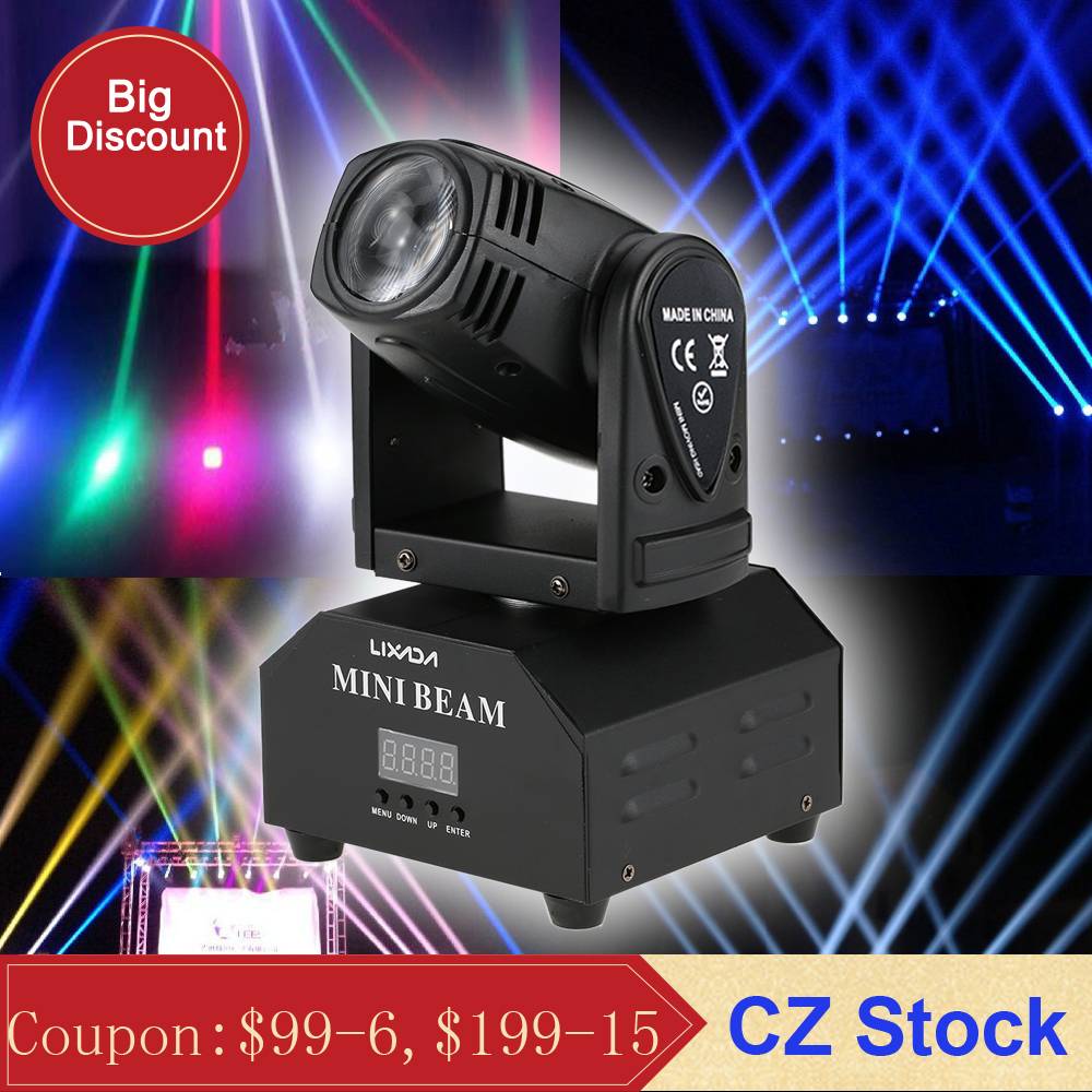 Lixada 50W LED Stage Effect Lamp Moving Head DMX512 Sound Activated 11 13 Channels RGBW Beam