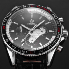 ORKINA Brand Miyota JS20 Movement Six Hand Men's Leather Strap Quartz Wrist Watch reloj del hombre