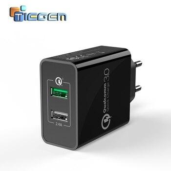 TIEGEM 30 wát Nhanh Nhanh Phí 3.0 + 2.4A Kép USB Phổ Di Động Sạc Điện Thoại Di Động EU MỸ Cắm cho samsung Huawei Xiaomi LG