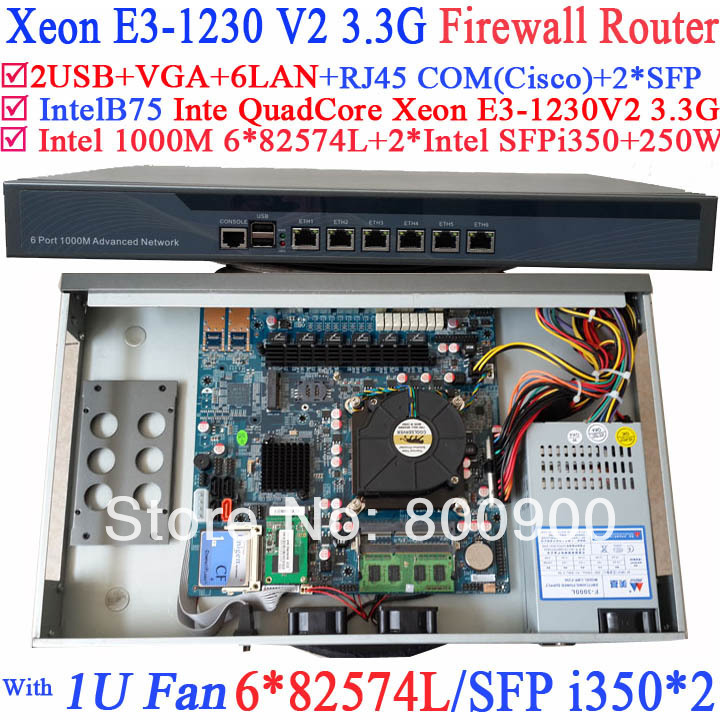 Industrielle 1U routage douce Quad Core Xeon E3-1230 V2 3.3 Ghz Barebone avec 8 portos 6 * 1000 M 82574L cartes réseau Gigabit 2 * intel i350 SFP