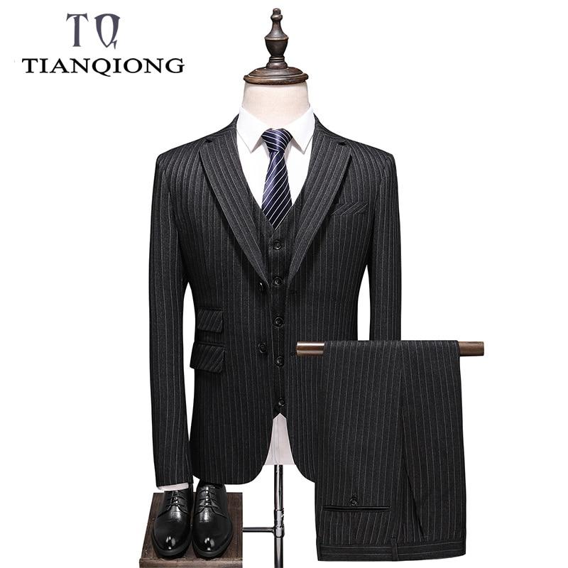 (Jacket+Pant+Vest) Slim Fit Striped Suit Men Brand Classic 3 Piece Mens Wedding Suits Dark Grey Men's Formal Suits Party Wear