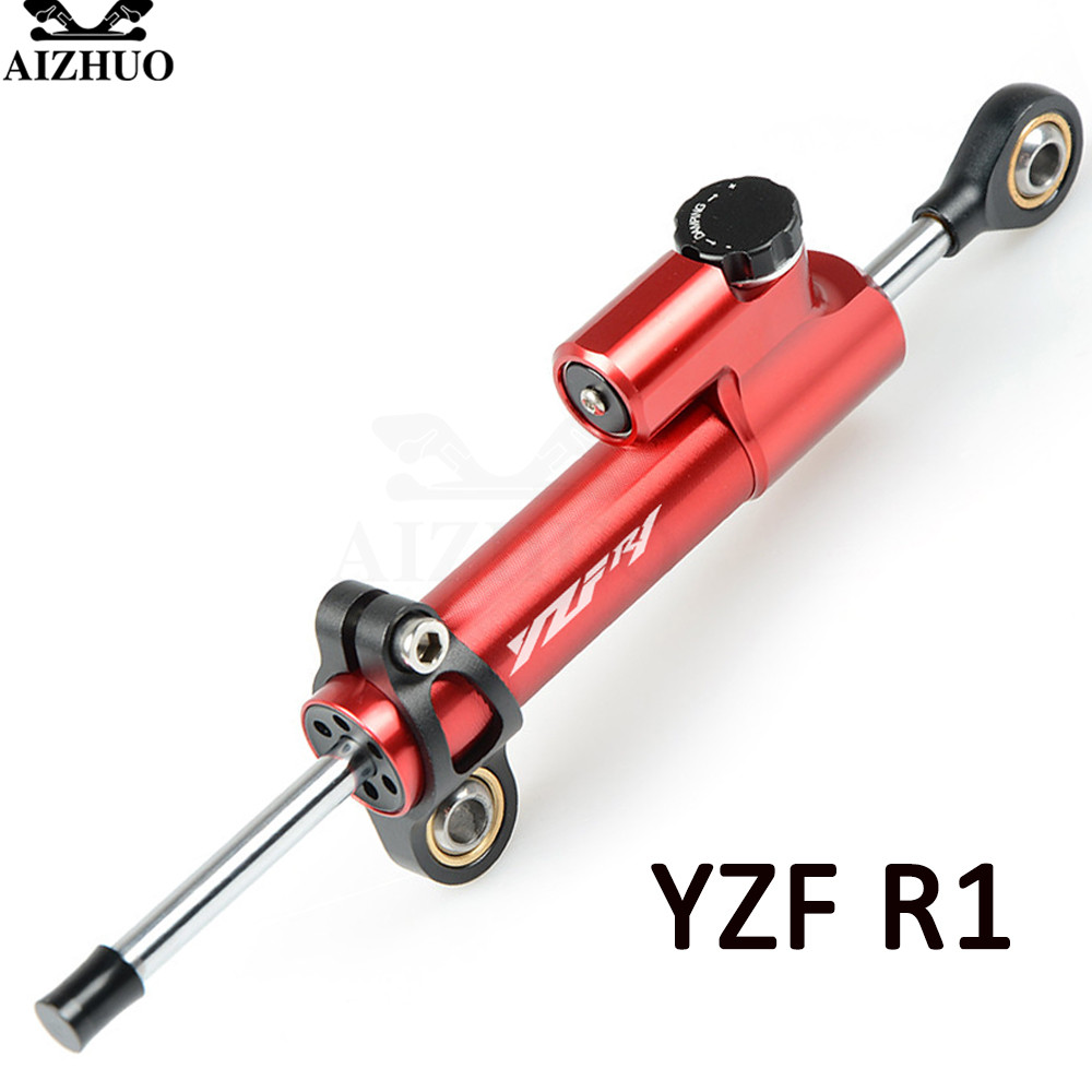 For YAMAHA YZF R1 1999 2001 2002-2003 Motorcycle Damper Steering Stabilize Safety Control CNC Aluminum WIth YZF R1 LOGO motorcycle steering damper stabilizer with mounting bracket adapter set for yamaha yzf r1 yzfr1 yzf r1 1999 2005