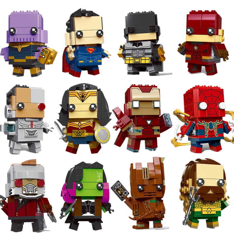 New Brickheadz Figures Super Hero DC Justice League Brick Heads Iron Man Spider Man Building Blocks Kids Toys