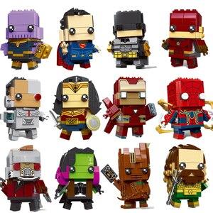 New Brickheadz Figures Super Heroes DC Justice League Brick Heads Spider Man Christmas Building Blocks Toys(China)