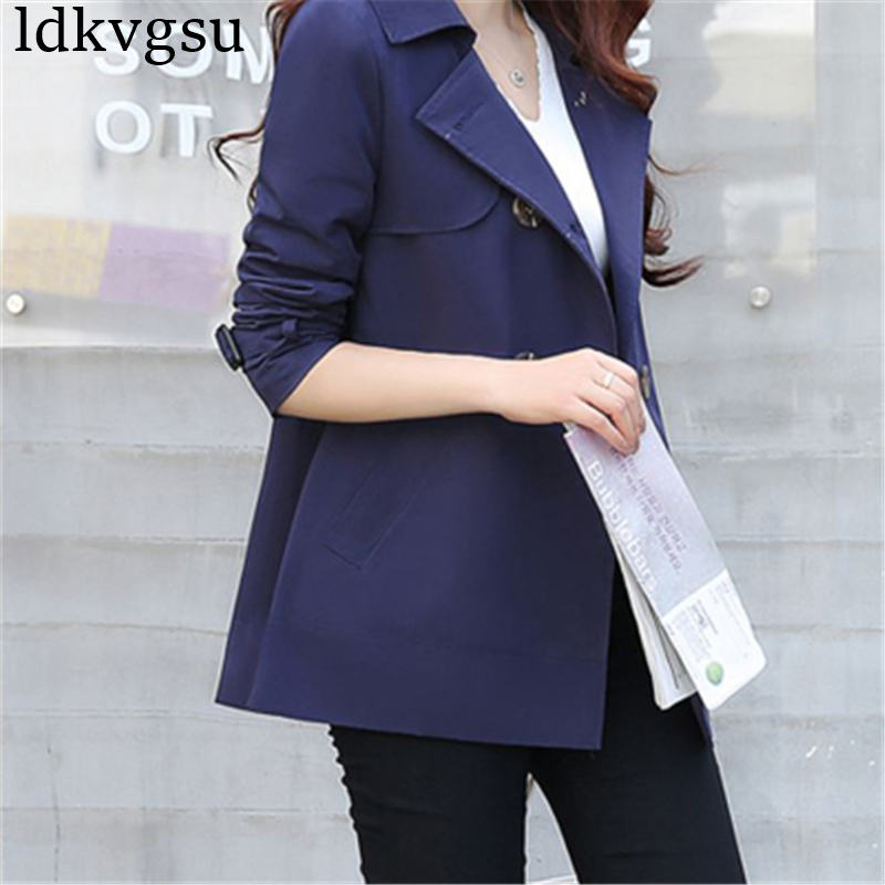 2019 New Spring Autumn Coat Short Paragraph Windbreaker Female Plus Size XS 4XL Korean Trench Coats
