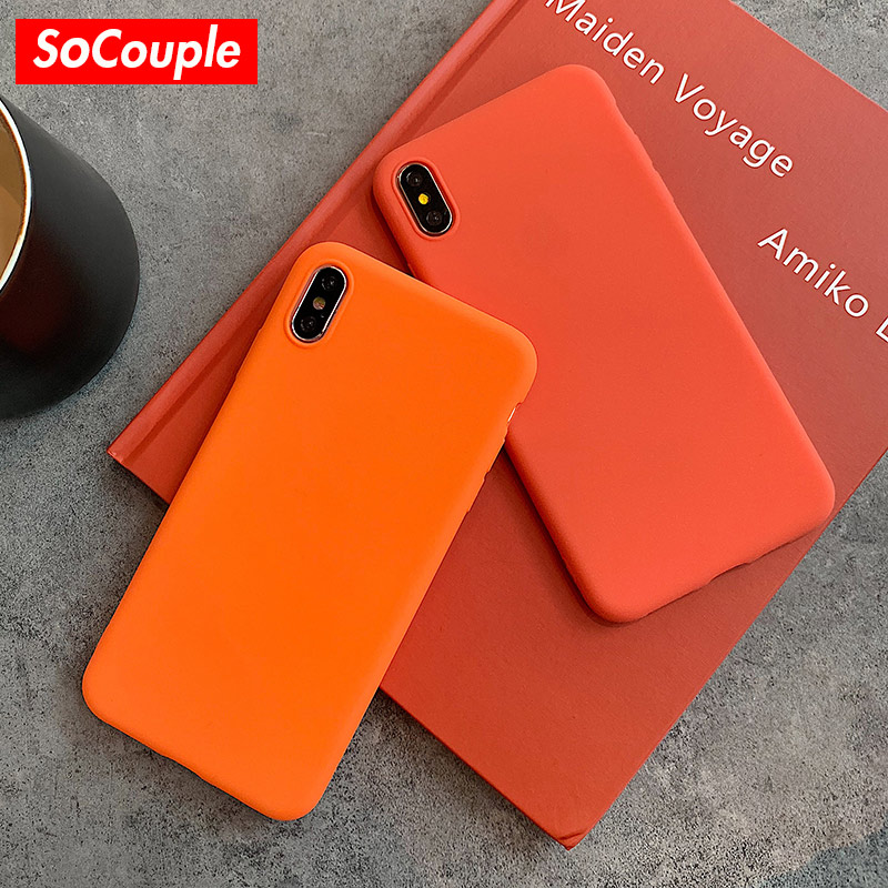 SoCouple Matte Phone Case For iPhone 7 6 6s 8 plus X XR XS MAX Simple Solid Color Ultrathin Soft TPU Case Candy Color Back Cover