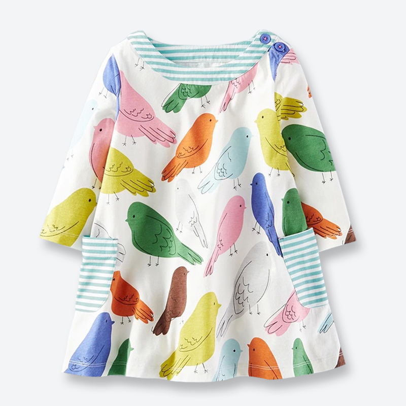 Rudens kleita meitenēm ilgi piedurknēm drukāti putni kleitas kritums jauns gadījuma kokvilnas meitenes apģērbi mīksto bērnu apģērbu 1-6 gadi