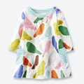 Autumn Dress For Girls Long-Sleeved Printed Birds Dresses Fall New Casual Cotton Girls Clothes Soft Children Clothes 1-6 Yrs