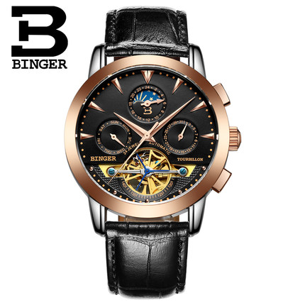 Top quality Binger Luxury Box Sapphire Black Dial Golden Stainless Steel Case Automatic Men Watch Hollow