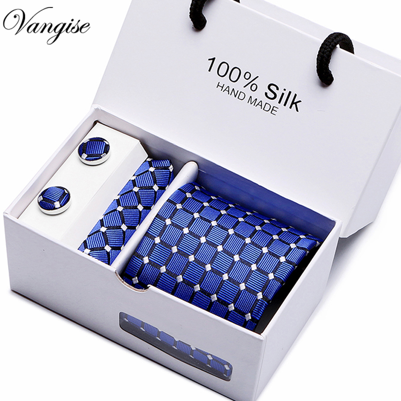 7.5cm Wide Business Office Men's Wedding Arrow Dot Plaid Jacquard Men Tie Handkerchief Cufflinks Gift Box Packaging